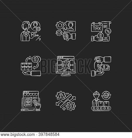 Business Management Chalk White Icons Set On Black Background. Entrepreneurship. Customer Services,