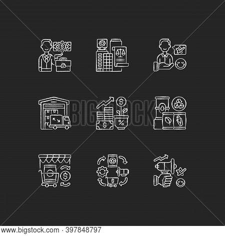 Business Chalk White Icons Set On Black Background. Successful Entrepreneurship. Legal And Customer