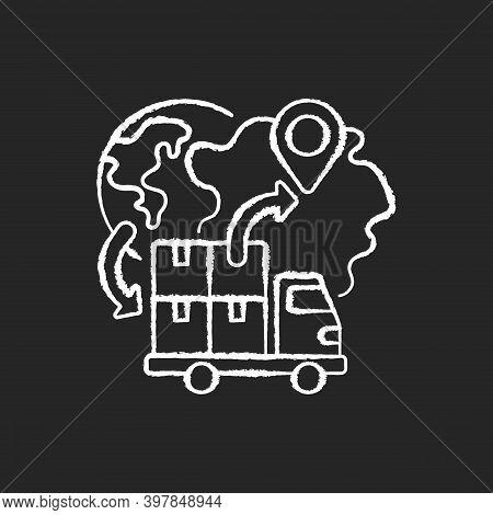 Import Chalk White Icon On Black Background. Freight Trucking Business, International Entrepreneursh