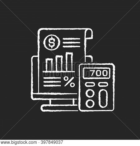 Bookkeeping And Audit Chalk White Icon On Black Background. Economic Management, Budget Assessment.