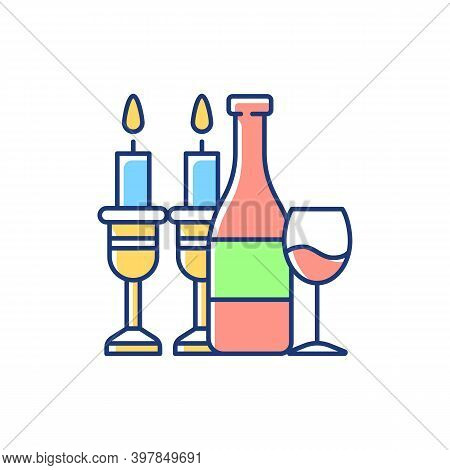 Kosher Wine Rgb Color Icon. Jewish Holidays And Rituals. Passover Seder. Festive Meal. Grape Juice.