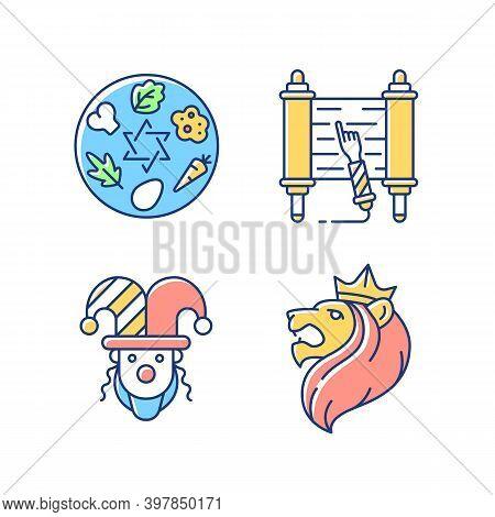 Jewish Religious Symbols Rgb Color Icons Set. Passover Seder Plate. Torah Scroll. Purim Celebration.