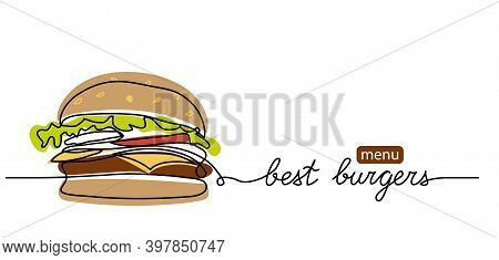 Burger Menu Simple Color Vector Background. One Continuous Line Drawing With Text Burger Menu.
