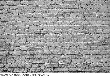 Solid Part Of The Old Brick Wall For A Vintage Textured Background Of Pale Color