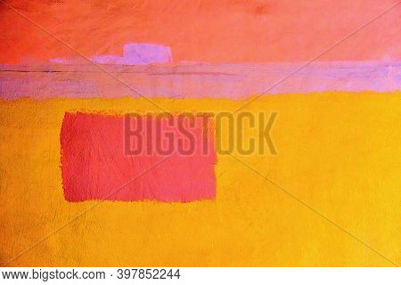 Abstract Pattern Of One Red Rectangular Spot On A Yellow Plastered Wall For Background Or Wallpaper