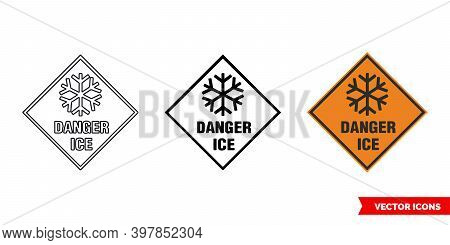 Danger Ice Roadworks Sign Icon Of 3 Types Color, Black And White, Outline. Isolated Vector Sign Symb