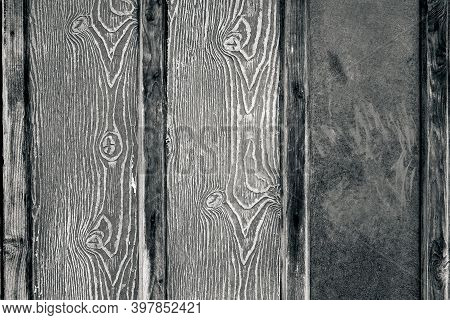 Abstract Texture Of A Wooden Board Of Monochrome Black Gray Tone For The Background Or Wallpaper