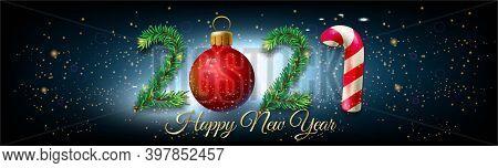 2021 Happy New Year Banner Horizontal Vector Illustration Christmas Tree Style - Happy New Year 2021