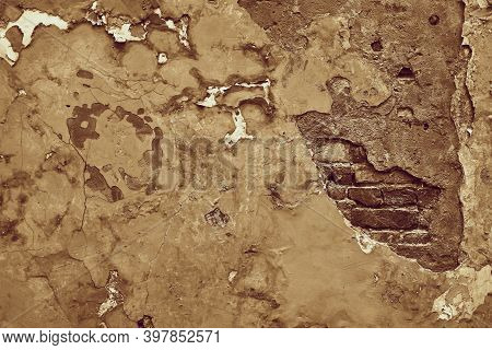 Abstract Part Of The Old Brick Wall With Ruined Plaster For Vintage Background And Wallpaper In The