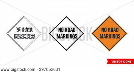 No Road Markings Roadworks Sign Icon Of 3 Types Color, Black And White, Outline. Isolated Vector Sig