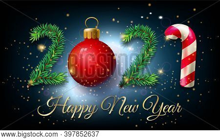 2021 Happy New Year Poster With Golden Glitter On Shiny Background - Happy New Year 2021 Christmas S