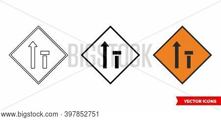 Offside Lane Of Two Closed Roadworks Sign Icon Of 3 Types Color, Black And White, Outline. Isolated