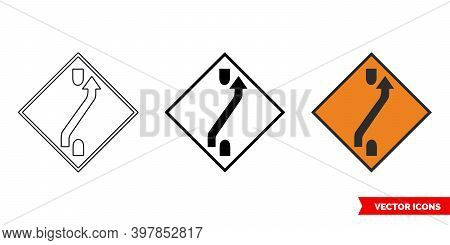 One Lane Crossover Out Roadworks Sign Icon Of 3 Types Color, Black And White, Outline. Isolated Vect