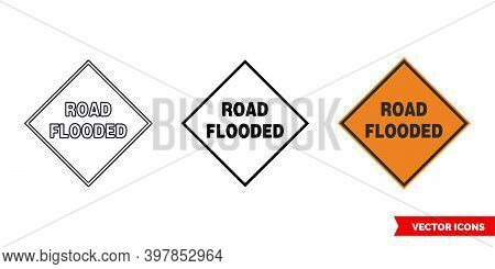 Road Flooded Roadworks Sign Icon Of 3 Types Color, Black And White, Outline. Isolated Vector Sign Sy