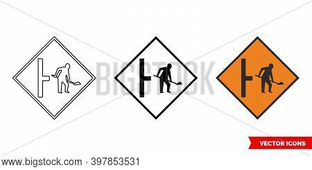 Site Access On Right Roadworks Sign Icon Of 3 Types Color, Black And White, Outline. Isolated Vector