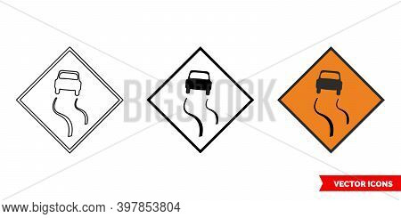 Slippery Road Roadworks Sign Icon Of 3 Types Color, Black And White, Outline. Isolated Vector Sign S