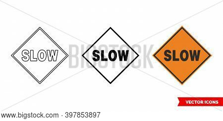 Slow Roadworks Sign Icon Of 3 Types Color, Black And White, Outline. Isolated Vector Sign Symbol.