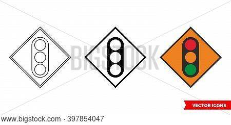 Temporary Traffic Signals Roadworks Sign Icon Of 3 Types Color, Black And White, Outline. Isolated V