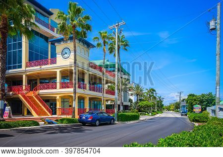 Grand Cayman, Cayman Islands, July 2020, View Of A Shopping Mall With Commercial Office Space Called