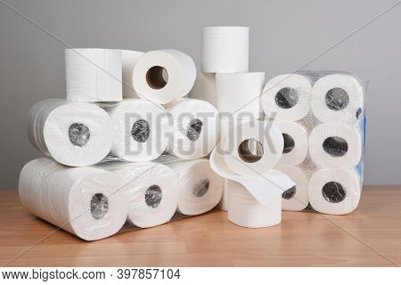 A large stack of Toilet Paper, a stockpile for the COVID-19 Pandemic fear.