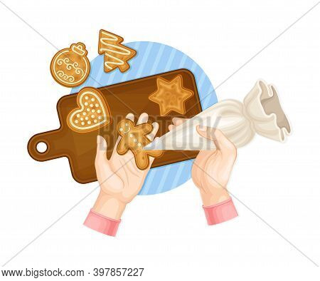 Hands Decorating Gingerbread Cookie With Sugar Glaze Vector Illustration