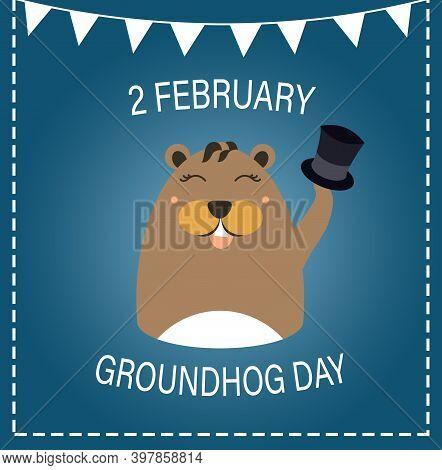 Groundhog Day Greeting Card With Cute Cartoon Animal