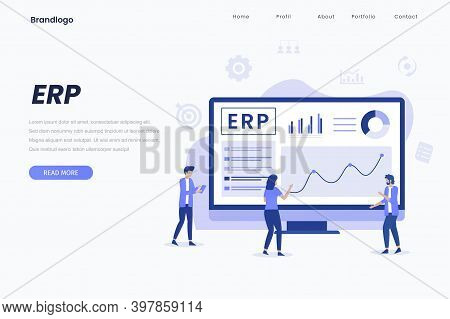 Erp Flat Landing Page, Data Visual, Erp System, Pi Chart