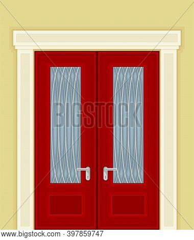 Double Door With Ornamental Window And Doorknob As Building Or Room Entrance Exterior Vector Illustr
