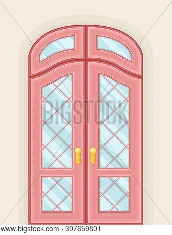 Double Door With Ornamental Window And Doorknob As Building Entrance Exterior Vector Illustration