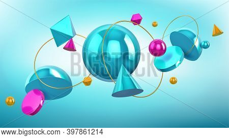 Holographic Background With 3d Geometric Shapes, Spheres And Golden Rings. Vector Abstract Design Wi