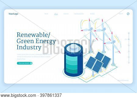 Renewable Green Energy Industry Isometric Landing Page. Sustainable Development Concept With Windmil