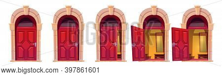 Opening Red Front Door With Stone Arch Isolated On White Background. Vector Cartoon Set Of House Ent