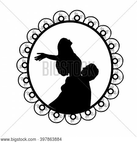 .silhouette In Frame Of Man Raises Woman In His Arms. Illustration Symbol Icon