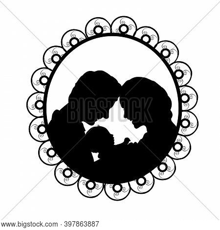 Silhouette In Frame Happy Parents Father And Mother Holding Newborn Baby. Illustration Symbol Icon