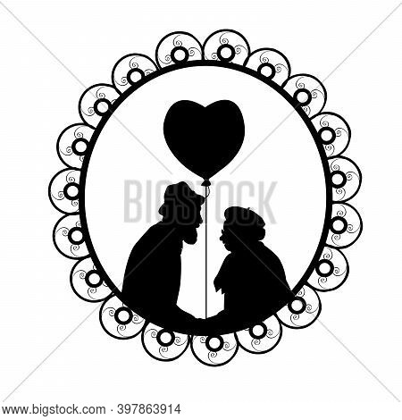 Silhouette In Frame Of Grandpa Gives Airy Heart To Grandma. Illustration Symbol Icon
