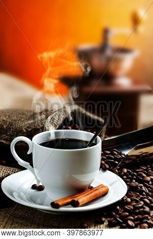 A Cup Of Coffee On A Cup. Black Americano Coffee. Coffee Cup With Cinnamon. Great Coffee.