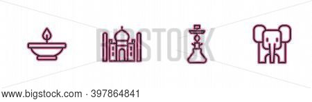 Set Line Aroma Lamp, Hookah, Taj Mahal And Elephant Icon. Vector