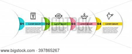 Set Line India Constitution Day, Chicken Tikka Masala, Aroma Lamp And Map. Business Infographic Temp