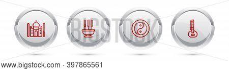 Set Line Taj Mahal, Incense Sticks, Yin Yang And Sitar. Silver Circle Button. Vector
