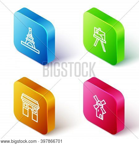Set Isometric Line Eiffel Tower, Easel Or Painting Art Boards, Triumphal Arch And Windmill Icon. Vec