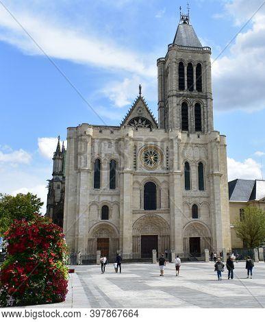 Paris, France. August 12, 2019. Basilica Of Saint-denis Or Basilique Royale De Saint-denis, West Fac