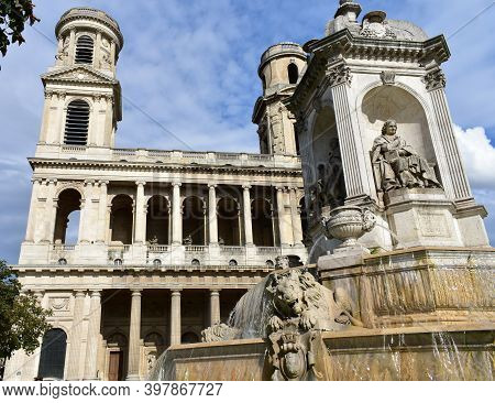 Eglise Saint-sulpice De Paris Neoclassical Facade And Towers With Fontaine Saint-sulpice. Paris, Fra
