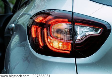 Led Car Rear Light With 3d Effect. Car Rear Light Close-up