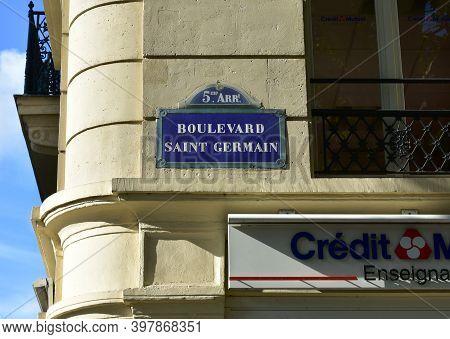 Paris, France. August 14, 2019. Boulevard Saint-germain Street Sign Close-up.
