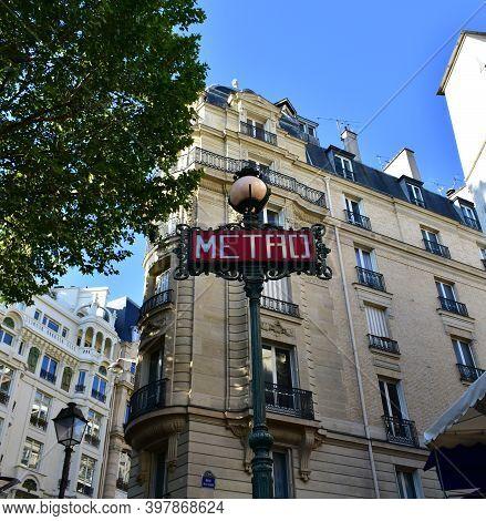 Parisian Metro Sign At Underground Station. Paris, France.