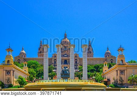 Palau Nacional Or National Palace Of Montju C And National Art Museum Of Catalonia With Four Columns