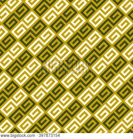 Chinese Seamless Ornament. Curves, Signs, Symbols Pattern. Curly Shapes. Oriental Traditional Orname