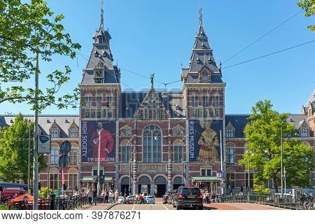 Amsterdam, Netherlands - May 15, 2018: Rijksmuseum Dutch National Museum Of Arts And History Street