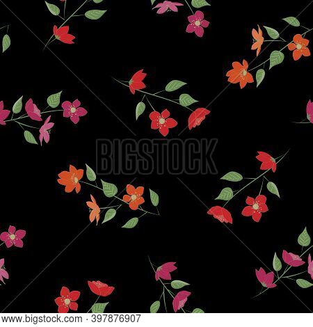 Vector Flowers In Red Orange Pink With Green Leaves On Stems On Black Background Seamless Repeat Pat