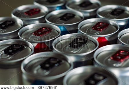 Shiny Silver Aluminum Soda Cans In A Group